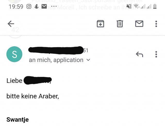 Swantje möchte keine Araber. Mail geht versehentlich an Bewerber.
