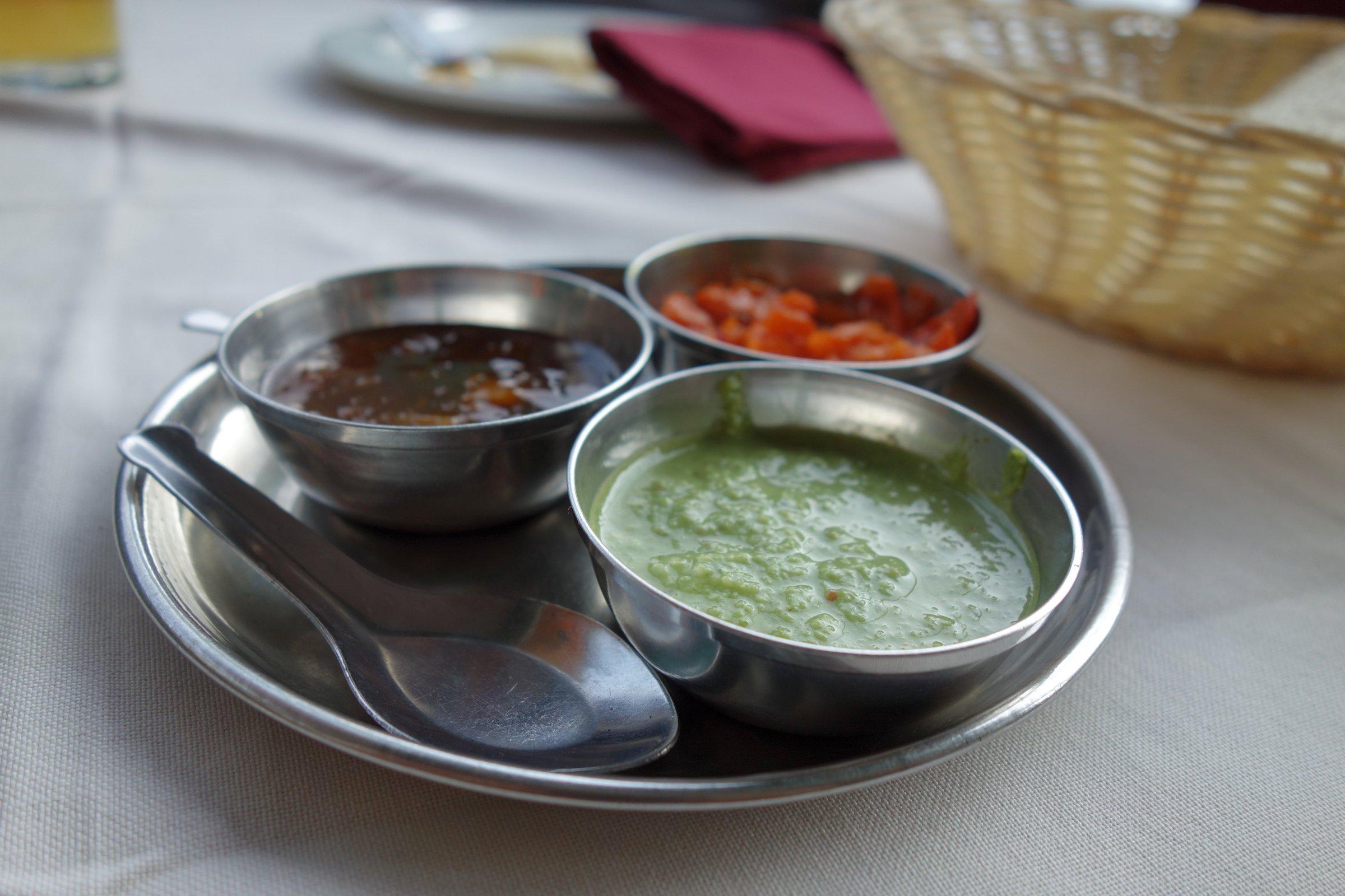 Saucen im Bikaner-Restaurant in Linden